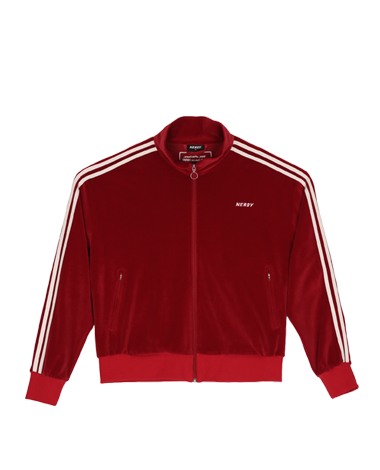 Velour Track Top Burgundy