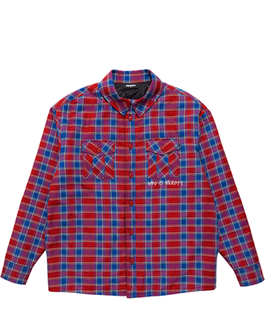 Padded Flannel Shirt Jacket Red