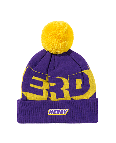 Multi Color Logo Bell Beanie Puple