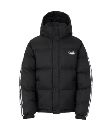 Color Block Reversible Down Jacket Black