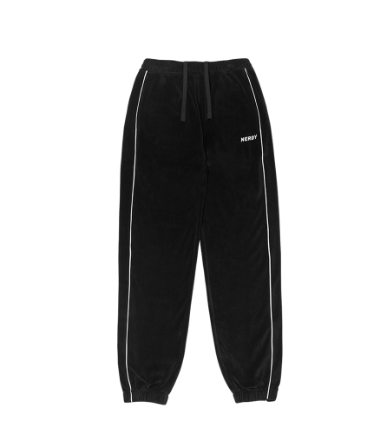 Velour Piping Track Pants Black