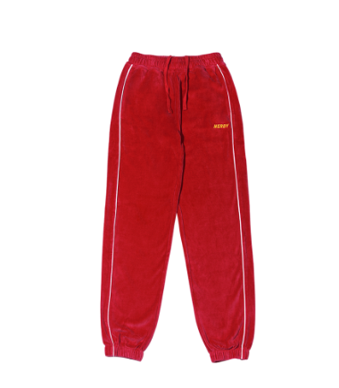 Velour Piping Track Pants Red