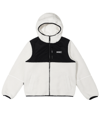 Color Block Fleece Jacket Ivory